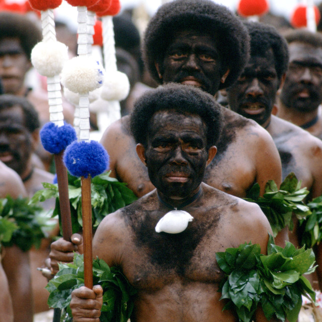 """Fijian warriors faces painted black in the traditional manner while attending..."" stock image"