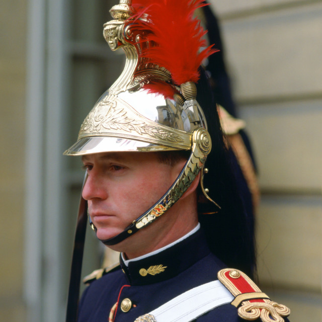 """""""A ceremonial guard at the Elysee Palace in Paris, France."""" stock image"""