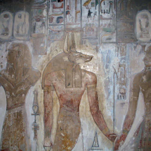 """Illustrations in King Seti's tomb in the Valley of the Kings at Luxor in Eqypt"" stock image"