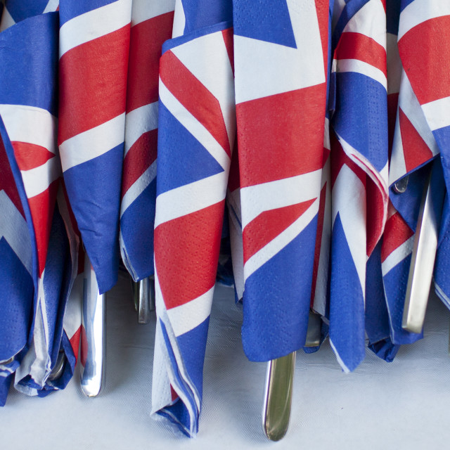 """""""Union Jack flags on napkins as patriotic gesture for jubilee street party..."""" stock image"""