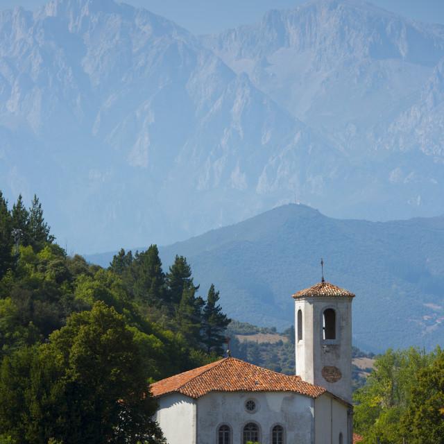 """""""Valley church at Cabezon de Liebana in shelter of the Picos de Europa..."""" stock image"""