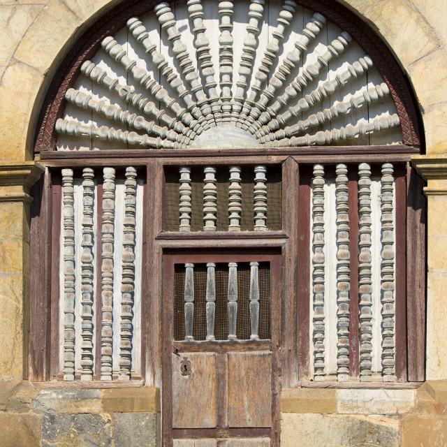 """Ornate doorway in Cabezon de Liebana within the Picos de Europa mountains in..."" stock image"