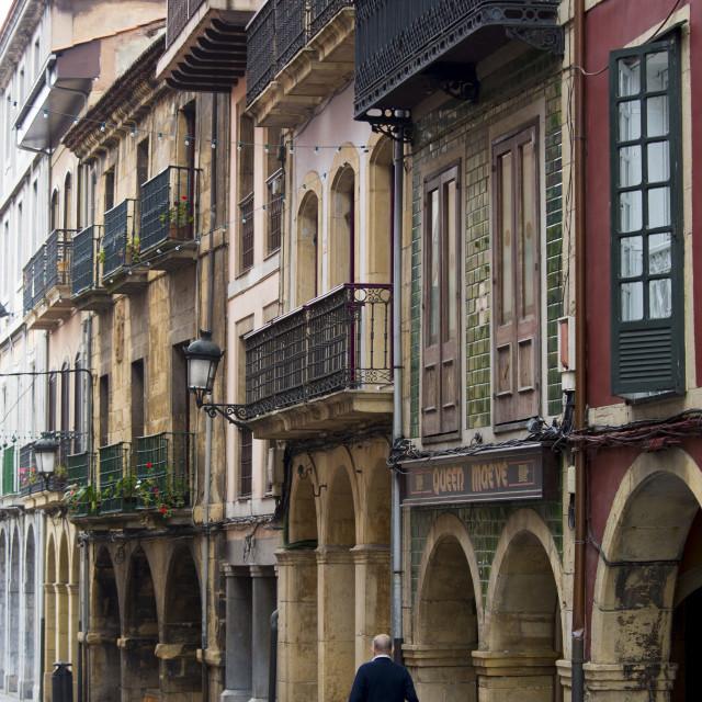 """Traditional architecture in Calle La Ferreria in Aviles, Asturias, Northern..."" stock image"