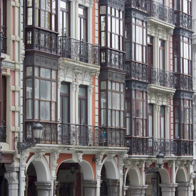 """""""Traditional architecture in Calle San Francisco in Aviles, Asturias, Northern..."""" stock image"""