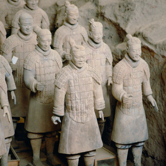 """Statues of warriors form a terracotta army at the tomb of Emperor Qin Shi..."" stock image"