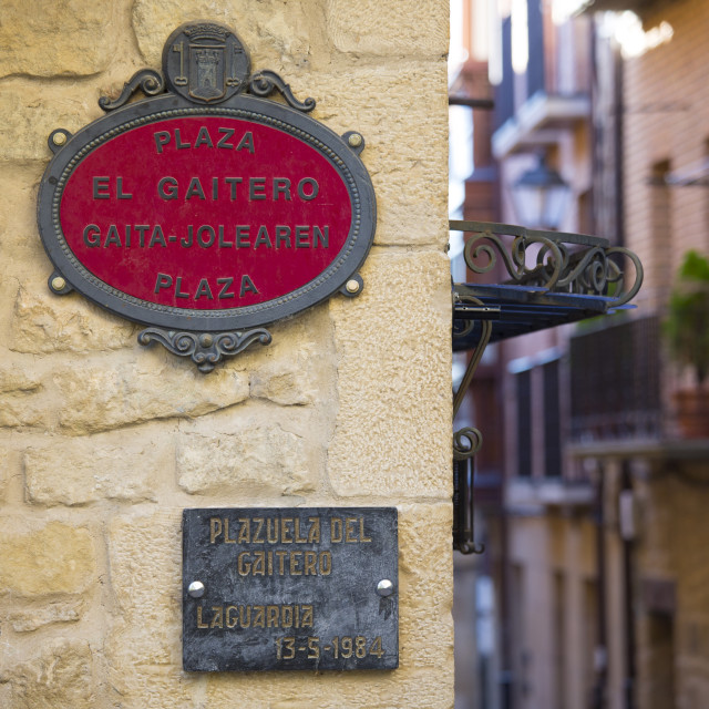 """""""Street signs in Spanish and Euskera Basque language in central square of..."""" stock image"""
