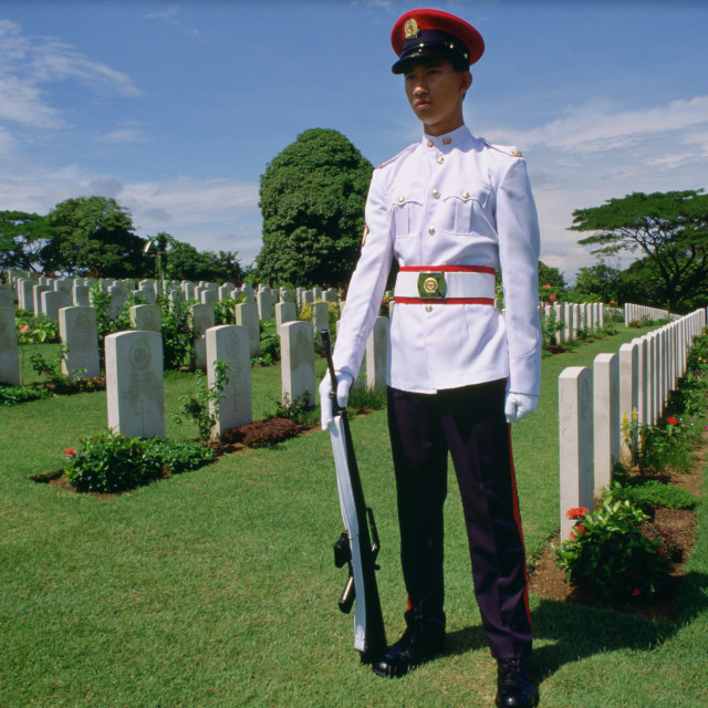"""Soldier standing on guard over Commonwealth war graves at Krangi War Cemetery..."" stock image"