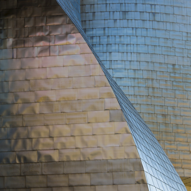 """Architect Frank Gehry's Guggenheim Museum futuristic architectural design in..."" stock image"