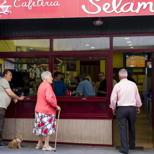 """Local Spanish people at cafeteria in Laredo, Cantabria, Spain"" stock image"