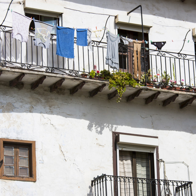 """Traditional Spanish architecture in Calle el Medio street of Laredo,..."" stock image"