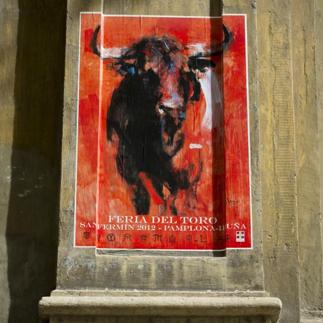 """Bullfight poster advertising Feria del Toro at the Bullring, Plaza de Toros..."" stock image"
