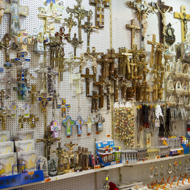 """Religious icons on sale in gift shop in the pilgrimage town of Lourdes in the..."" stock image"