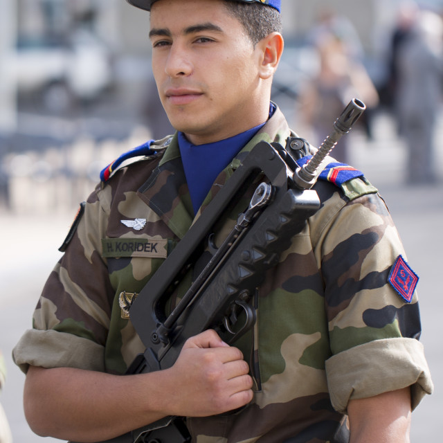 """Soldier in the French military attending parade in Pau in the Pyrenees, France"" stock image"