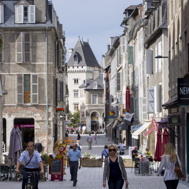 """Locals strolling in the streets of Pau, France"" stock image"