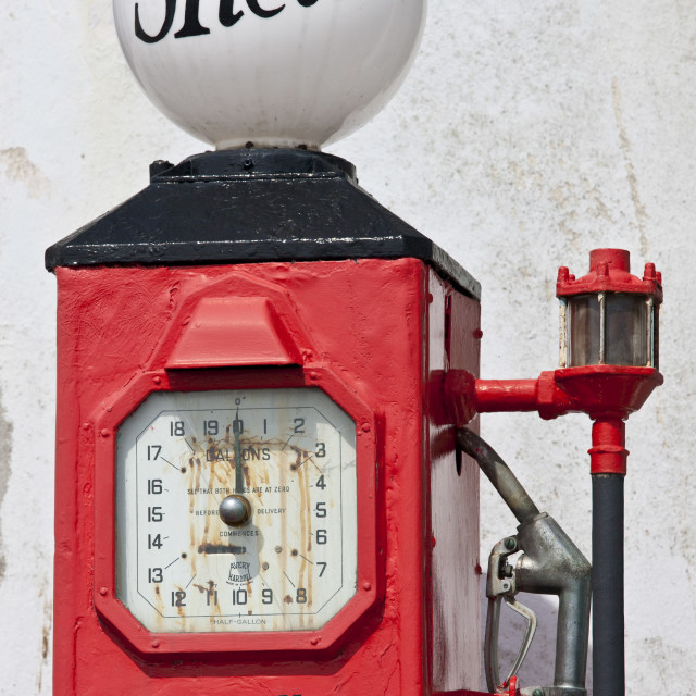 """Vintage Shell petrol pump ephemera at St Mawes tourist attraction, Cornwall,..."" stock image"