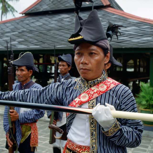 """Ceremonial guards at Sultan's Palace at Yogyakarta, Indonesia"" stock image"
