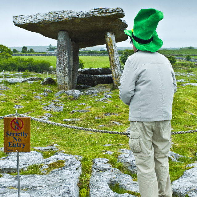 """Poulnabrone Dolmen megalythic burial tomb in The Burren glaciated karst..."" stock image"