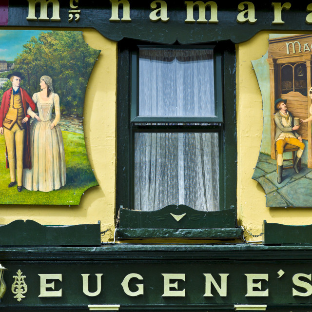 """Historic murals at Eugene's traditional bar in Meltown Malbay, County Clare,..."" stock image"
