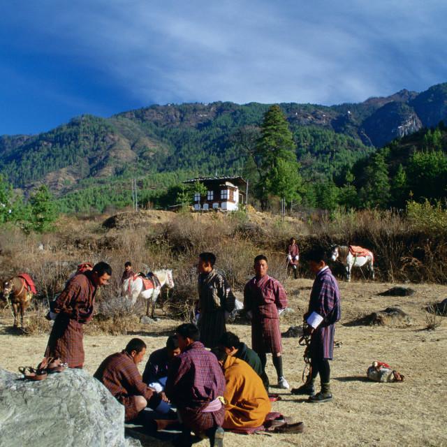 """""""Horsemen taking a break, Bhutan"""" stock image"""
