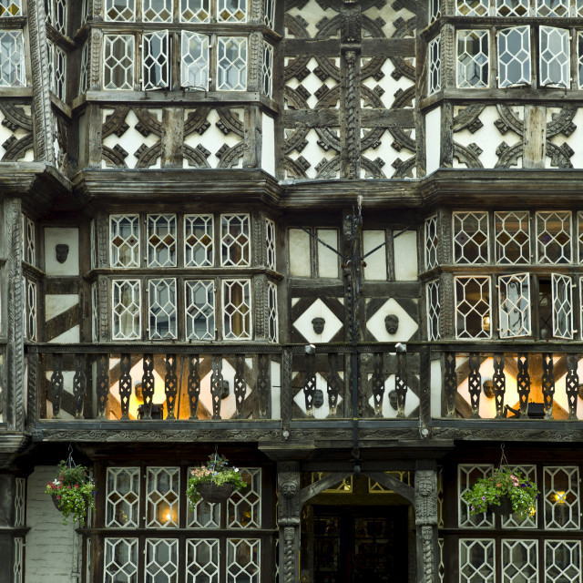 """Jacobean timber-framed The Feathers Hotel in The Bull ring at Ludlow,..."" stock image"