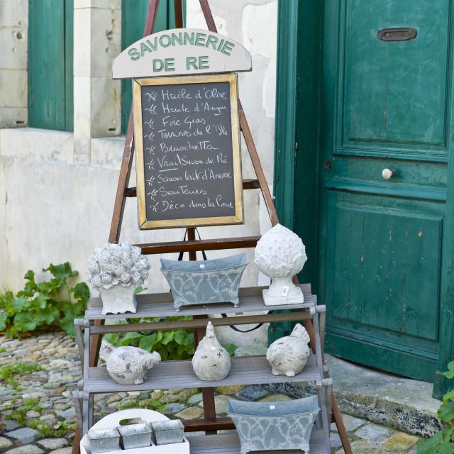 """""""Savonnerie de Re souvenir shop at St Martin de Re, Ile de Re, France"""" stock image"""