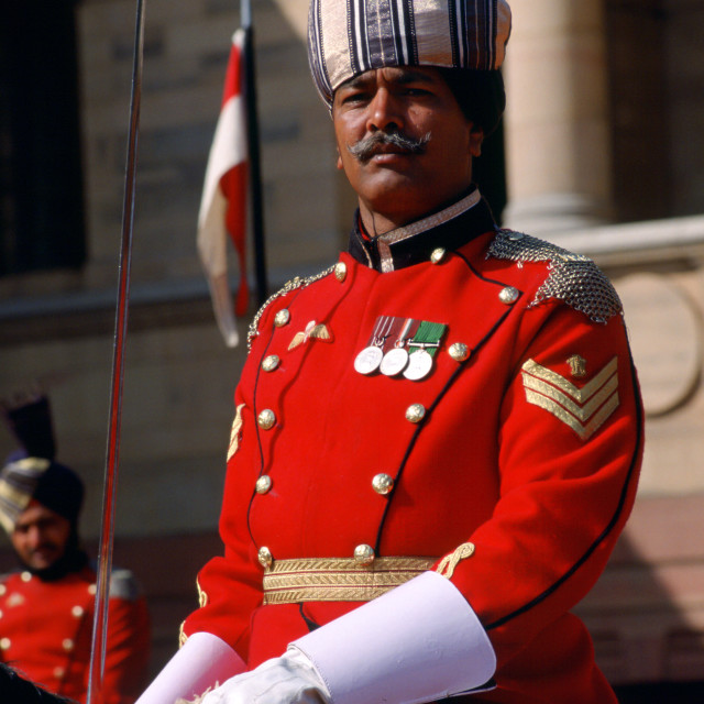 """Presidential guard at Rasthraparti Bhavan, Delhi, India"" stock image"