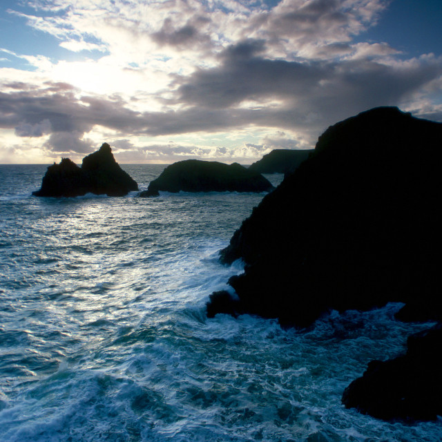 """Kynance Cove at sunset, Cornwall, England"" stock image"