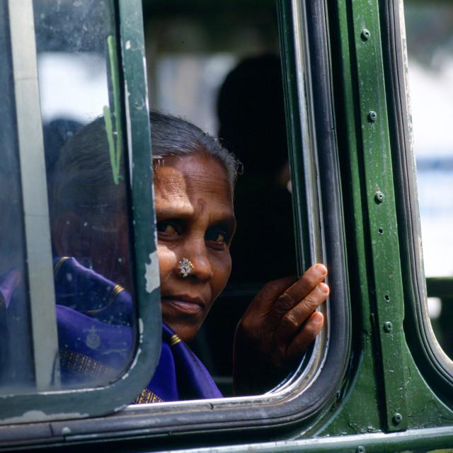 """Woman bus passenger, Calcutta, India"" stock image"