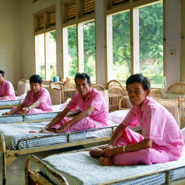 """""""Men suffering from leprosy are cared for as patients in the Sitanala Hospital..."""" stock image"""