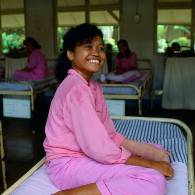 """Patient in the Sitanala Leprosy Hospital in Jakarta, Indonesia"" stock image"