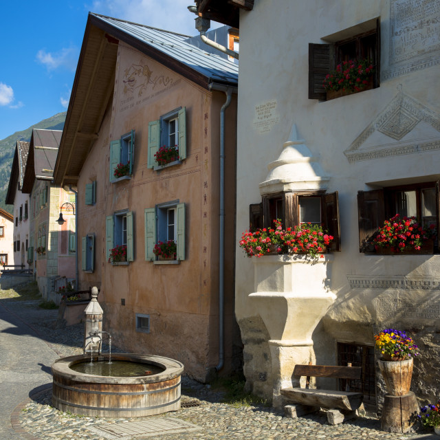 """In the Engadine Valley the village of Guarda with old painted stone 17th..."" stock image"
