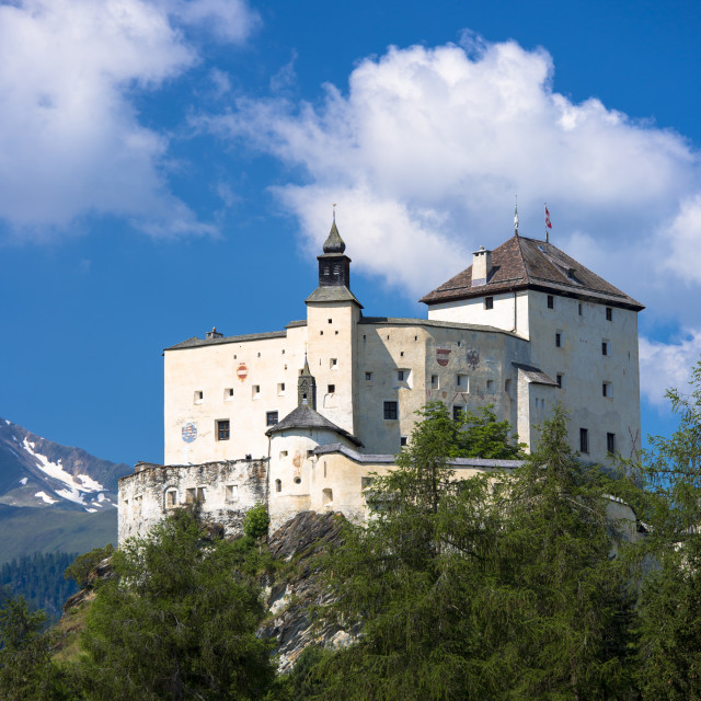 """Tarasp Castle surrounded by larch forest in the Lower Engadine Valley,..."" stock image"