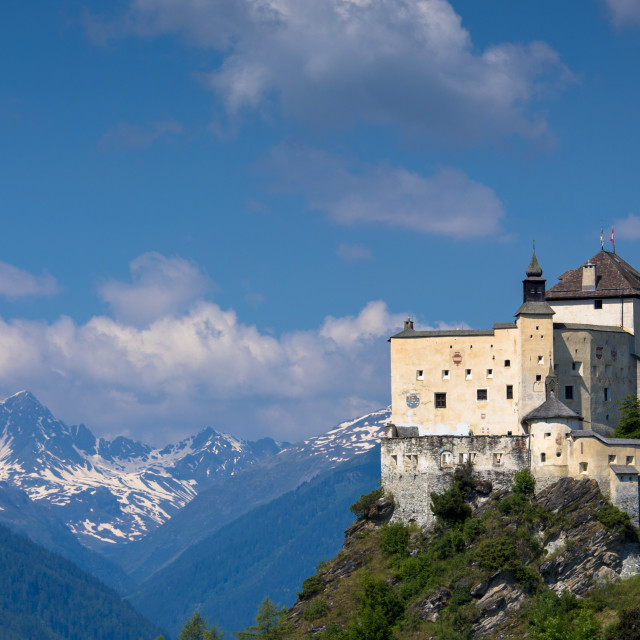 """Tarasp Castle in the Lower Engadine Valley in the Swiss Alps, Switzerland,..."" stock image"