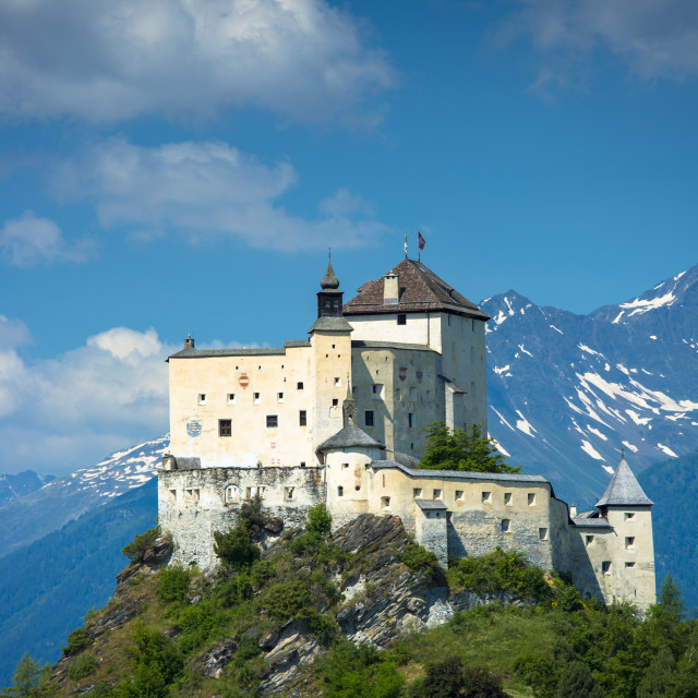 """Tarasp Castle in the Lower Engadine Valley, Switzerland, Europe"" stock image"