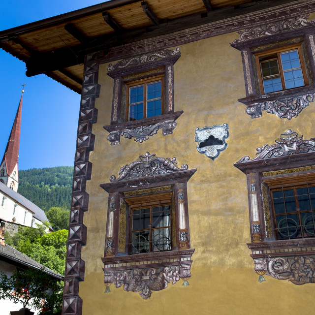 """""""Gasthof Stern hotel and church in Kirchweg in the old part of the town of..."""" stock image"""