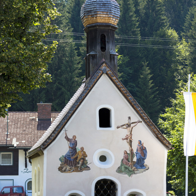 """""""Church of St. Peter and Paul with traditional onion dome in the village of..."""" stock image"""