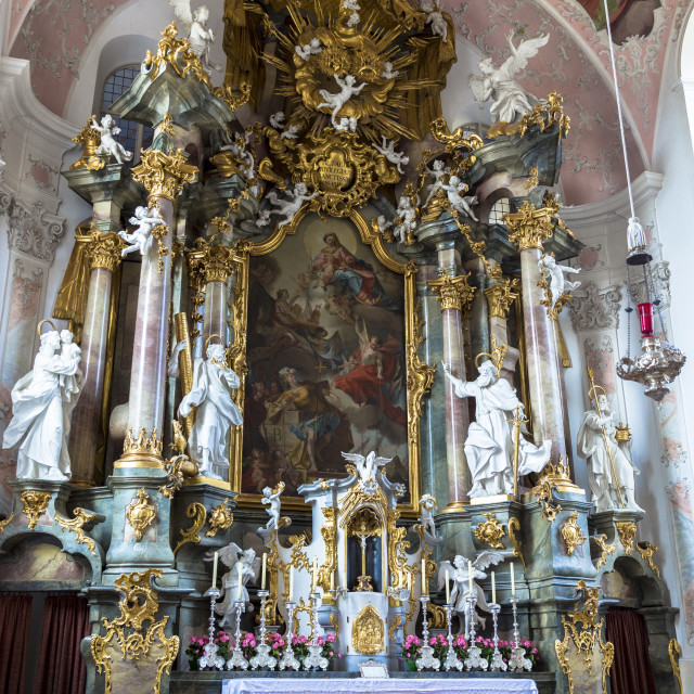 """""""Baroque style Church of St. Peter and Paul in Oberammergau in Upper Bavaria,..."""" stock image"""