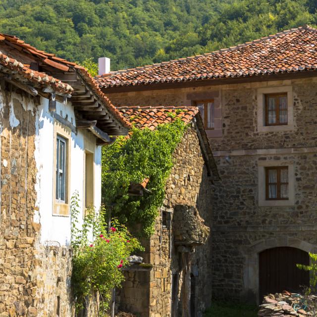 """Mountain village of Somaniezo in Picos de Europa in Cantabria, Northern..."" stock image"