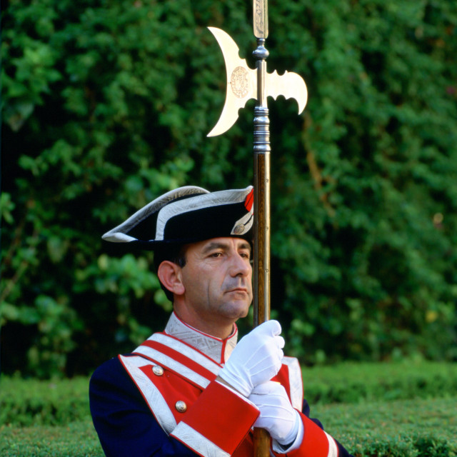 """Ceremonial guard with spear at the Alcazar Palace in Seville, Spain"" stock image"