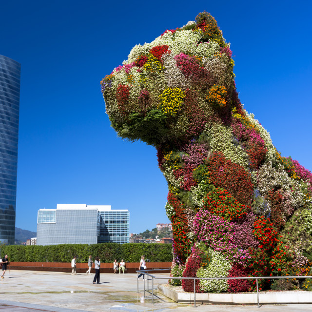 """""""Puppy flower feature floral art in dog form by Jeff Koons at Guggenheim..."""" stock image"""
