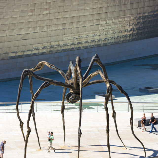 """Guggenheim Museum and giant spider sculpture Maman in Bilbao, Euskadi, Spain,..."" stock image"