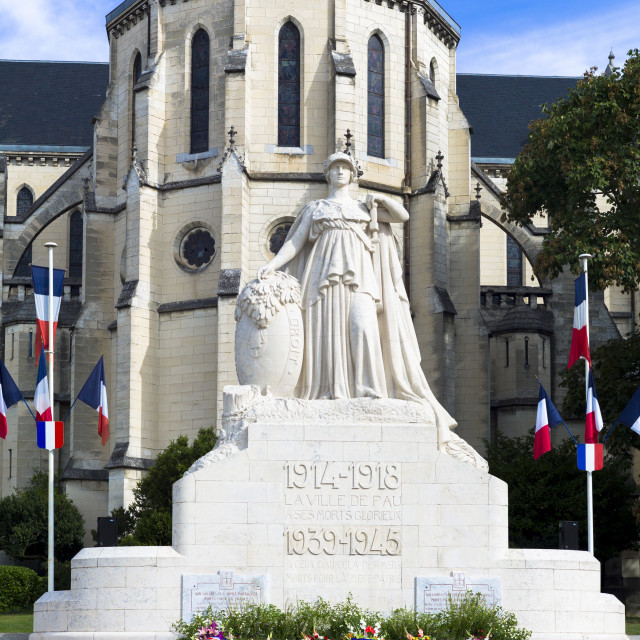 """World War I and World War II memorial La Ville de Pau for dead soldiers of..."" stock image"