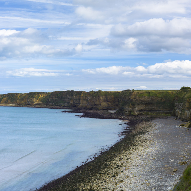 """The beach at La Pointe du Hoc where Allied forces came ashore during World..."" stock image"