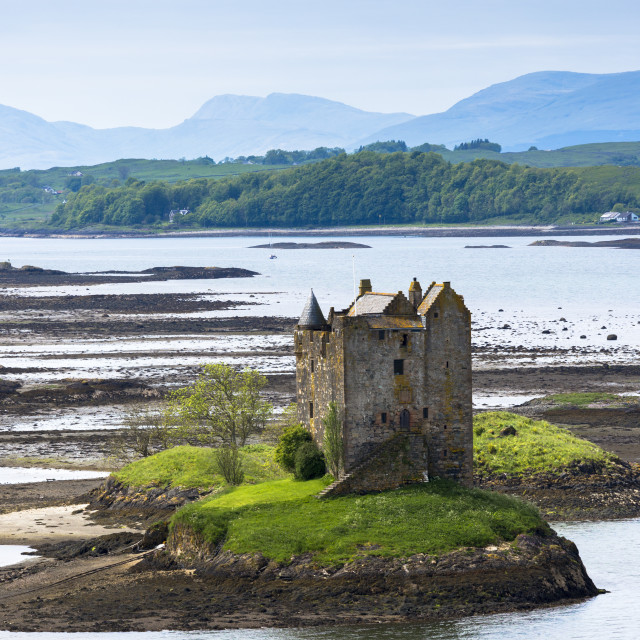 """Stalker Castle on Loch Linnhe, 14th Century highland fortress of MacDougall..."" stock image"