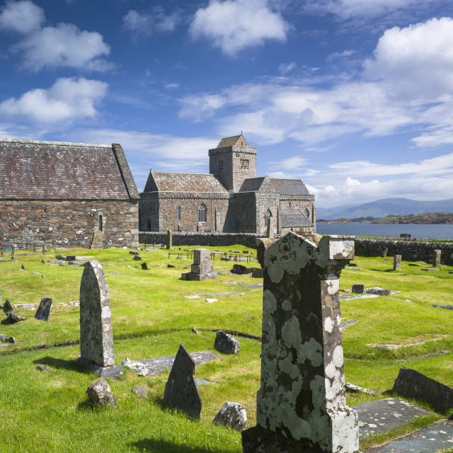 """Iona Abbey and graveyard - burial place of kings and clan chiefs - on Isle of..."" stock image"
