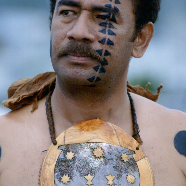 """""""Fijian warrior withhis face painted in the traditional manner and wearing a..."""" stock image"""