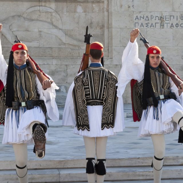"""""""Evzone soldiers, Changing the Guard, Syntagma Square, Athens, Greece, Europe"""" stock image"""