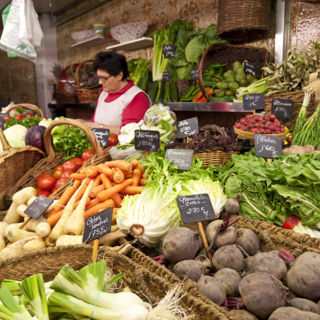 """Vegetable stall, Saturday morning at La Boqueria, probably Barcelona's..."" stock image"