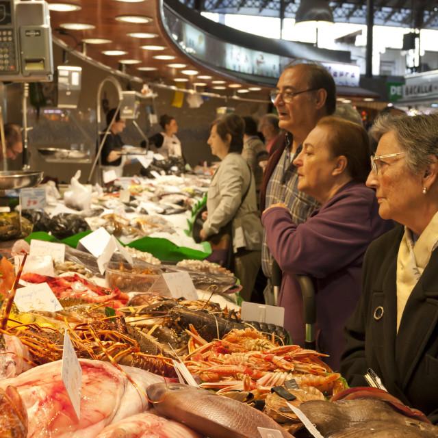 """Busy fish stall, Saturday morning at La Boqueria, probably Barcelona's..."" stock image"