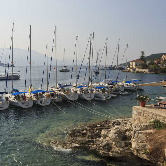"""Yachts and ships at anchor, Fiskardo, Kefalonia (Cephalonia), Ionian Islands,..."" stock image"